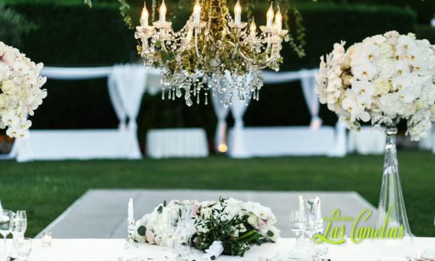 El banquete de la boda. Decoración floral.