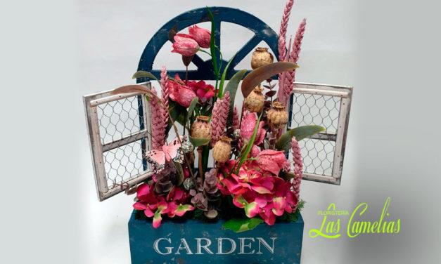 Decoración con flores secas y artificiales